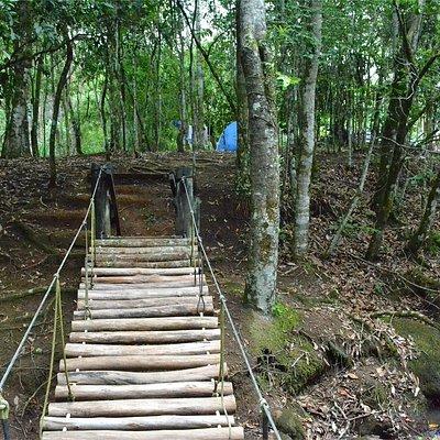 Ponte no centro do camping