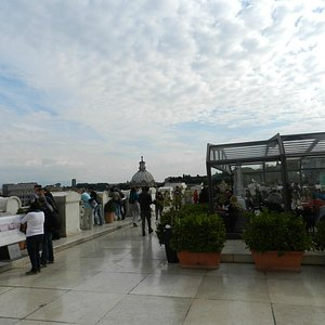 Rooftop cafe - sooo nice after long tour of Colosseum
