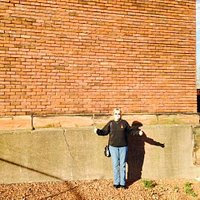 Me at the Larkin building wall - all that is left of it
