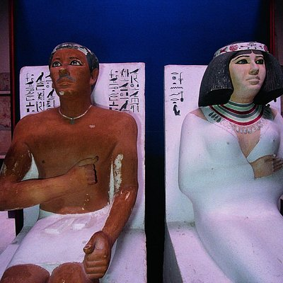 The most remarkable statues depicting Prince Ra-Hotep and his wife Nofret in the Egyptian Museum