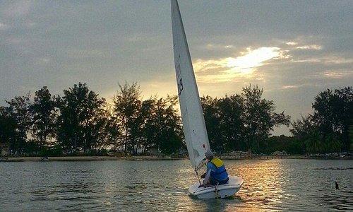 A sail boat around Serasa Beach