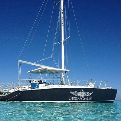 Stingray Sailing anchored at the Sandbar/Stingray City