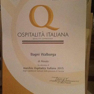 Premio ospitalità italiana da camera di commercio di savona