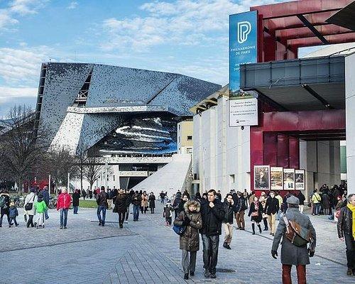 Les Philharmonie 1 (bâtiment J. Nouvel) et 2 (Bâtiment C. de Portzamparc).