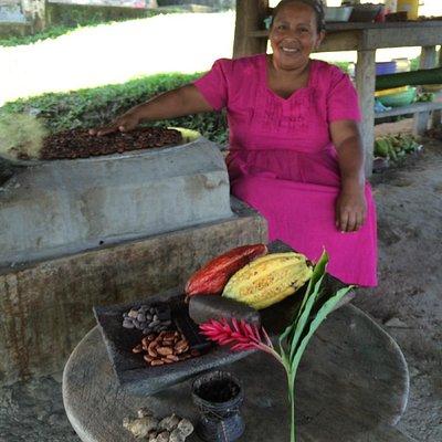 Adalia roasting cacao beans.