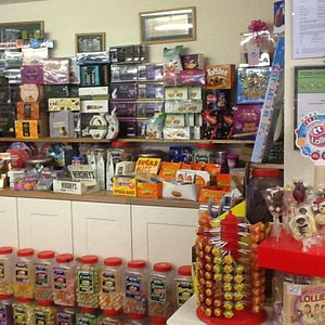Specialist chocolates and jars of sweets