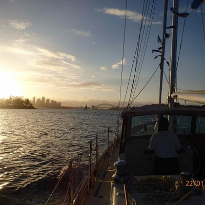 Sydney Harbour at sunset aboard the Katrina