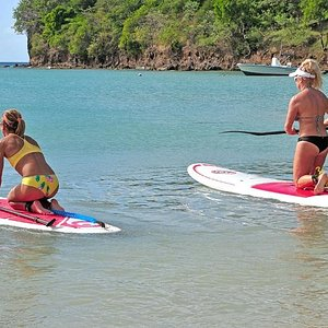 Calm protected waters of BBC Beach. SUP Grenada's rental location.