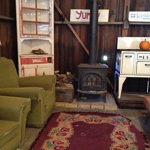 Inside the barn - eclectic mix of furniture