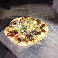 Pizza from our woodfired oven!