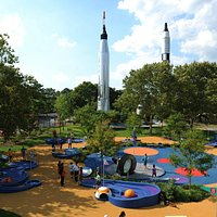 Play 9 holes of mini golf in the shadow of vintage Atlas and Titan rockets.