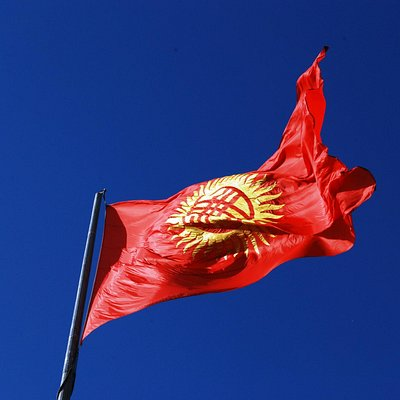 enorme bandeira do Quirguistão, praça Ala-Too - Bishkek, Quirguisão
