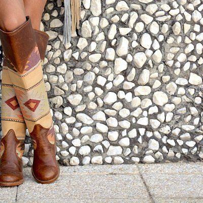Handmade boots with handwoven fabric