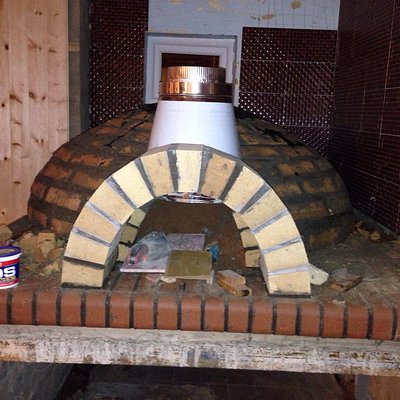 Wood burning oven being built