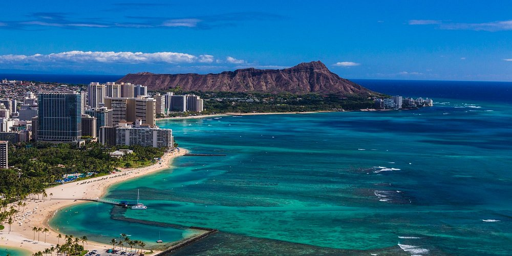 The world-famous Waikiki, located on the south shore of Honolulu, on the island of Oahu.
