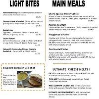 Menu light Bites and Meals