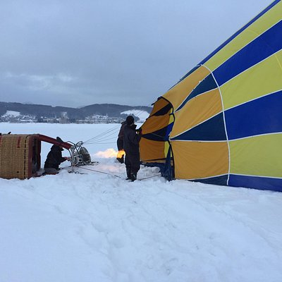 Close up of the balloon getting filled with hot air