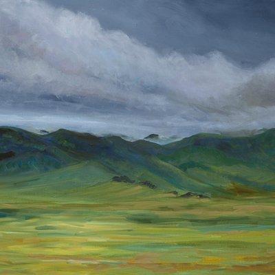 Jenni Mitchell, Mongolian Steppe, oil on canvas