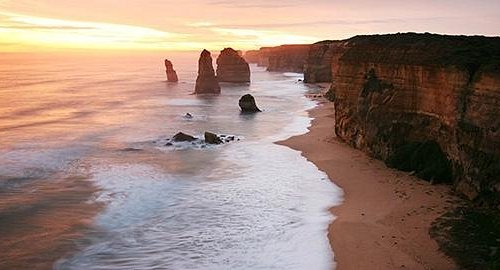 Sunset over the great ocean road