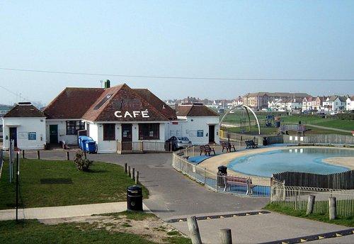 Big beach cafe looking west