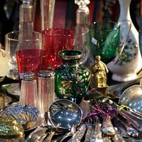 Tables filled with antiques and collectables