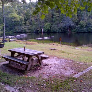 Picnic table by the lake