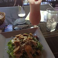Chicken Caesar Salad and Hawaii 10 cocktail