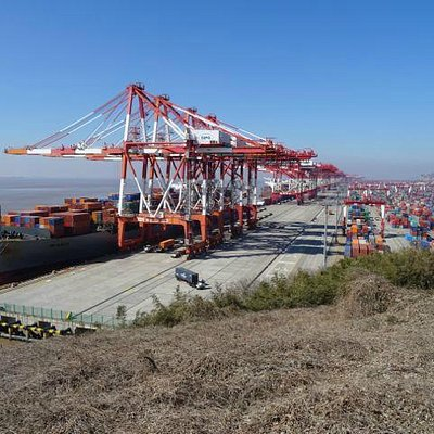 Ships' berths and cranes, containers