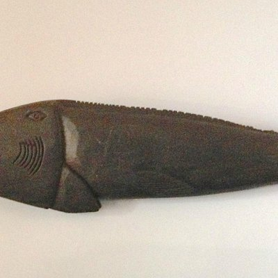 Hand-Carved Fish Art (wood, painted, 36