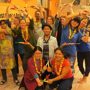 The Dandiya pose by a group of Australian guests