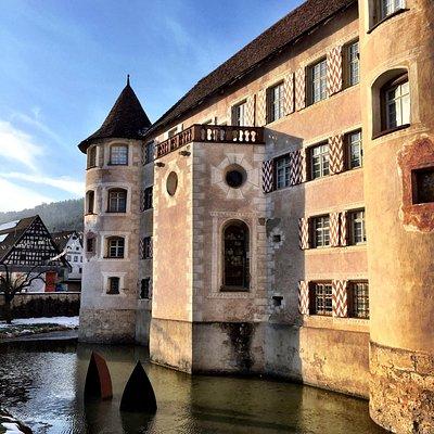 Wasserschloss Glatt im Wintersonnenlicht