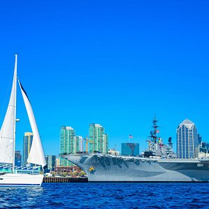 Sailing by USS Midway