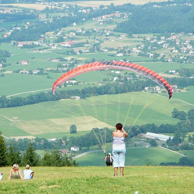 Javorovy Hill view of the surounding and paragliding