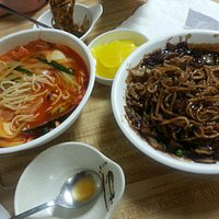 Spicy seafood noodle and black bean noodle