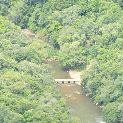 vista da ponte da cascata velha usina