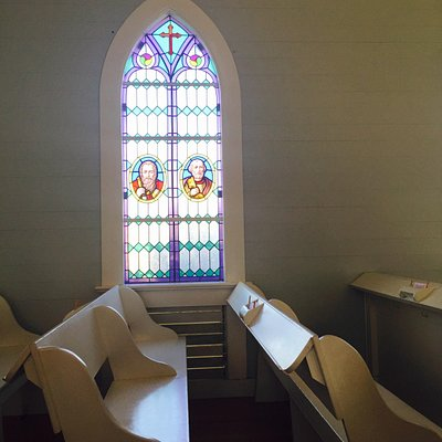 window at the church shaped like a ship