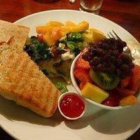 Green Eggs (sans ham) Garden Omelet, Fresh Fruit, thick-cut fresh baked sour dough bread