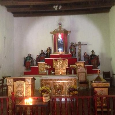 The altar in the church at Santa Catarina Palopo