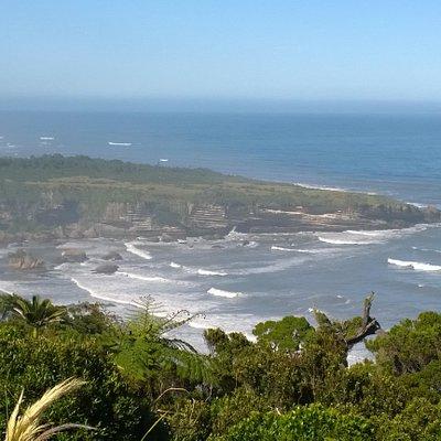 Southern view. Punakaiki (Pancake Rocks) in the distance
