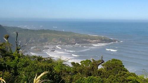 Southern view. Punakaiki (Pancake Rocks) in the distance