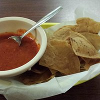 house made chips and red sauce (HOT)