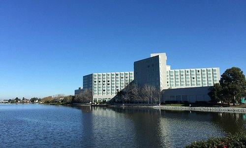 Looking at the hotel across the lagoon.