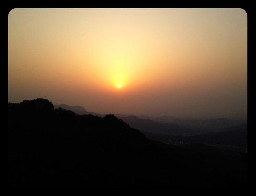 At sunset.