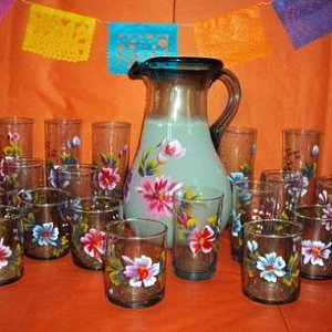 Hand Painted Pressed Glass