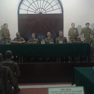 Trial of Indian National Army shown in the Museum.