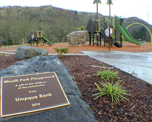 Brand New Playground Equipment. Thank you Umpqua Bank, Thank you City of Roseburg.