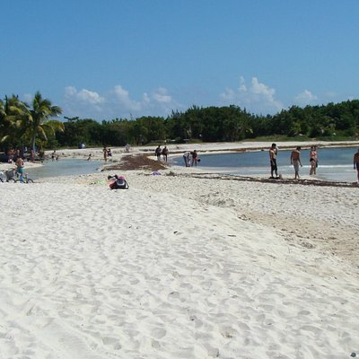 playa con cenote abierto al mar