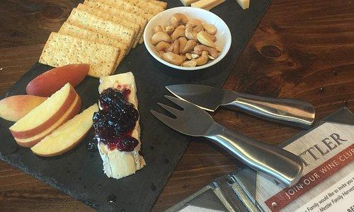 Wonderful wine and wonderful cheese tray!
