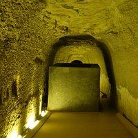 Abandoned sarcophagus in corridor