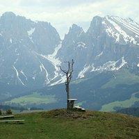 Croce Fillner con vista sul Gruppo del Sassolungo